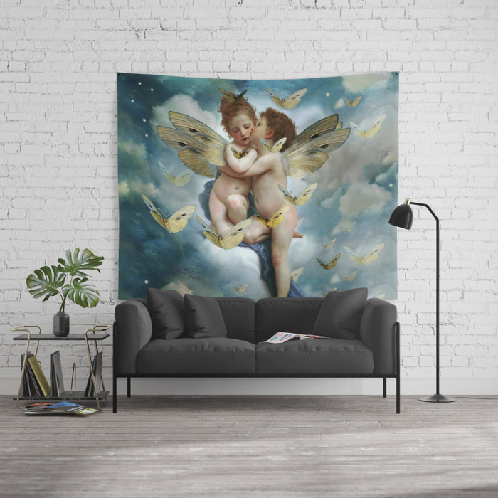 angels-in-love-in-heaven-with-butterflies-tapestries